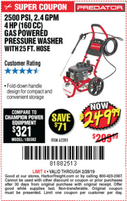 www.hfqpdb.com - 2500 PSI, 2.4 GPM 4 HP (160 CC) PRESSURE WASHER Lot No. 62201