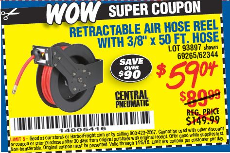 Amazing deals on this 3/8In X 50Ft Retractable Air Hose Reel at Harbor Freight. Quality tools & low prices. Mount your retractable hose reel and set the ratchet system for the perfect hose length. Easily activate the spring-loaded release to effortlessly roll up your retractable hose. A 50 ft., 3/8 in/5().