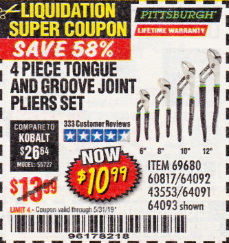 Harbor Freight 4 PIECE TONGUE AND GROOVE JOINT PLIERS SET coupon