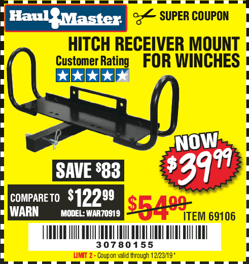 Harbor Freight HITCH RECEIVER MOUNT FOR WINCHES coupon