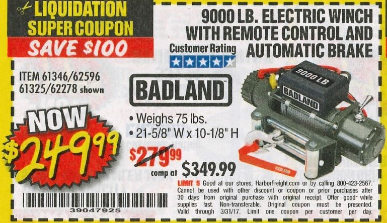 Harbor freight 9000 lb winch coupon - First response coupon