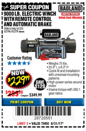 Harbor Freight 9000 LB. ELECTRIC WINCH WITH REMOTE CONTROL AND AUTOMATIC BRAKE coupon