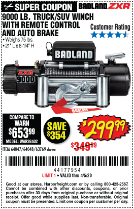www.hfqpdb.com - 9000 LB. ELECTRIC WINCH WITH REMOTE CONTROL AND AUTOMATIC BRAKE Lot No. 61346/61325/62596/62278/68143