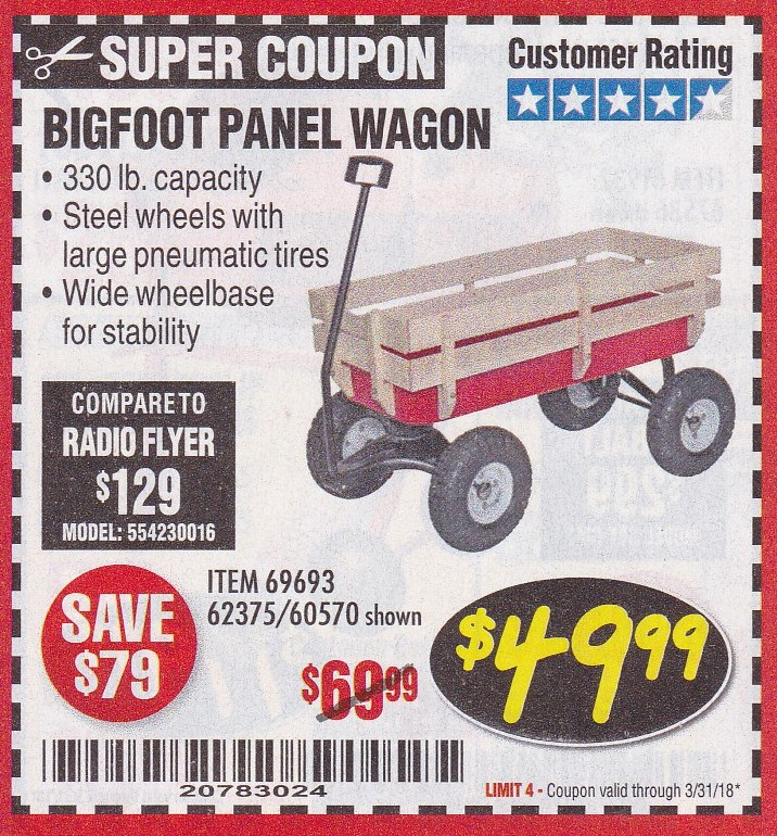 Harbor Freight BIGFOOT PANEL WAGON coupon