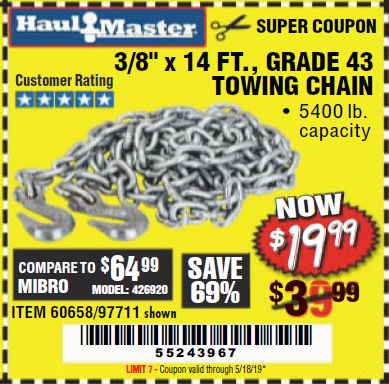 "www.hfqpdb.com - 3/8"" x 14 FT. GRADE 43 TOWING CHAIN Lot No. 97711/60658"