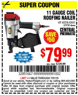 Harbor Freight Coupon 11 GAUGE COIL ROOFING AIR NAILER Lot No. 62218 ...