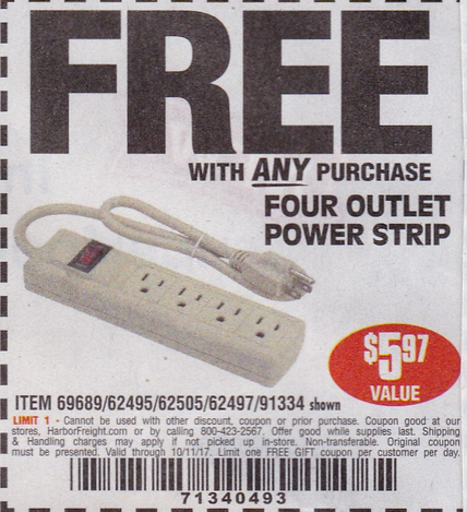Harbor Freight FOUR OUTLET POWER STRIP coupon