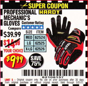 Harbor Freight PROFESSIONAL MECHANIC'S GLOVES coupon