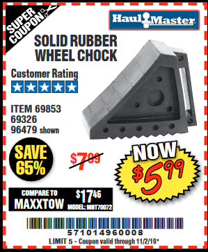 Harbor Freight SOLID RUBBER WHEEL CHOCK coupon