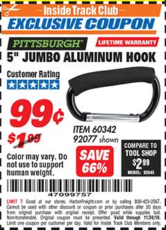 """www.hfqpdb.com - 5"""" JUMBO ALUMINUM HOOK Lot No. 60342/92077"""