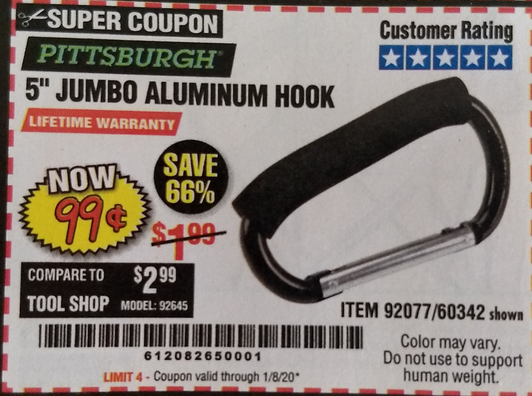 "www.hfqpdb.com - 5"" JUMBO ALUMINUM HOOK Lot No. 60342/92077"