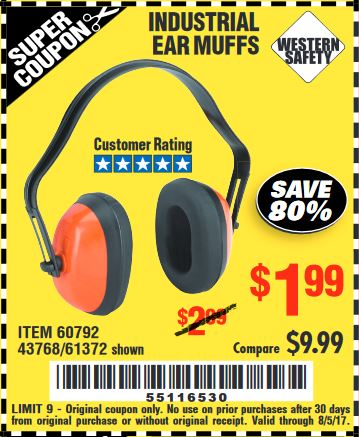 Harbor Freight INDUSTRIAL EAR MUFFS coupon
