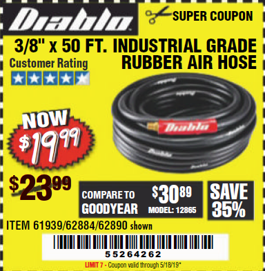 "www.hfqpdb.com - DIABLO 3/8"" X 50 FT. HEAVY DUTY PREMIUM RUBBER AIR HOSE Lot No. 62884/69580/61939/62890"
