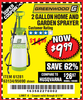 Harbor Freight 2 GALLON HOME AND GARDEN SPRAYER coupon