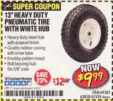 "www.hfqpdb.com - 13"" PNEUMATIC TIRE WITH WHITE HUB Lot No. 69382/67424"