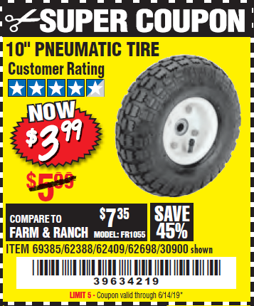 "www.hfqpdb.com - 10"" PNEUMATIC TIRE HaulMaster Lot No. 30900/62388/62409/62698/69385"