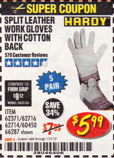 Harbor Freight SPLIT LEATHER WORK GLOVES 5 PAIR coupon