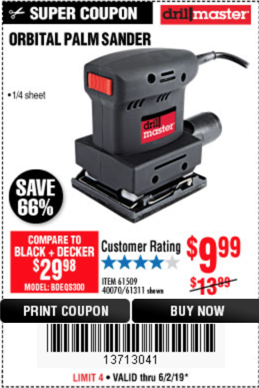 Harbor Freight ORBITAL HAND SANDER coupon