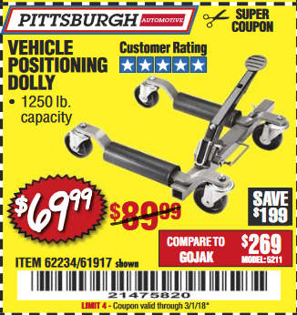 Harbor Freight VEHICLE POSITIONING WHEEL DOLLY coupon
