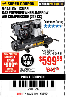 Harbor Freight 7 HP, 9 GALLON, 135 PSI GAS POWERED WHEELBARROW AIR COMPRESSOR (212 CC) coupon