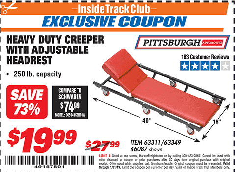 www.hfqpdb.com - HEAVY DUTY CREEPER WITH ADJUSTABLE HEADREST Lot No. 61895/46087