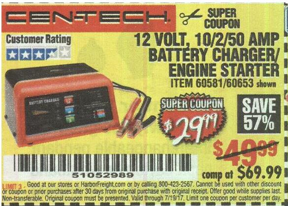 Harbor Freight 12 VOLT, 10/2/50 AMP BATTERY CHARGER/ENGINE STARTER coupon