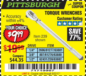 Harbor Freight TORQUE WRENCHES coupon