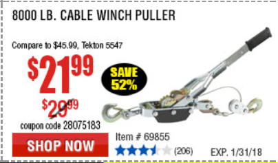 Harbor Freight 8000 LB. CAPACITY CABLE WINCH PULLER coupon