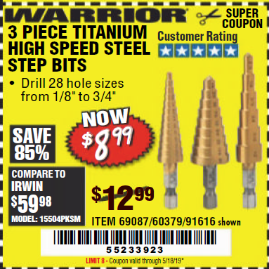 www.hfqpdb.com - 3 PIECE TITANIUM NITRIDE COATED HIGH SPEED STEEL STEP DRILLS Lot No. 91616/69087/60379