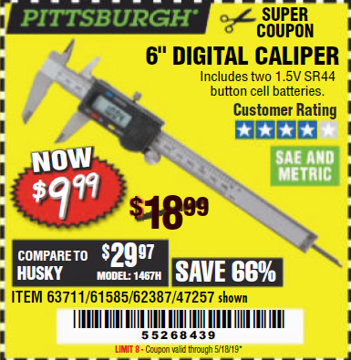 "www.hfqpdb.com - 6"" DIGITAL CALIPER Lot No. 47257/61585/62387/61230/63711"