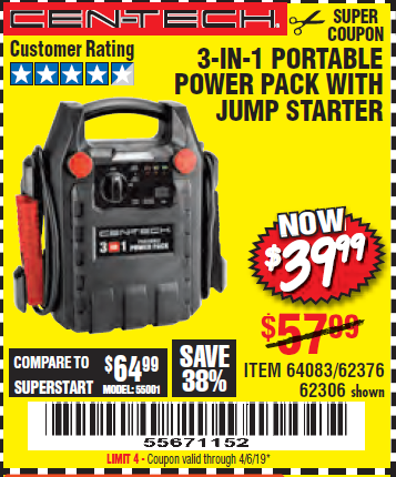 www.hfqpdb.com - 3-IN-1 PORTABLE POWER PACK WITH JUMP STARTER Lot No. 38391/60657/62306/62376/64083
