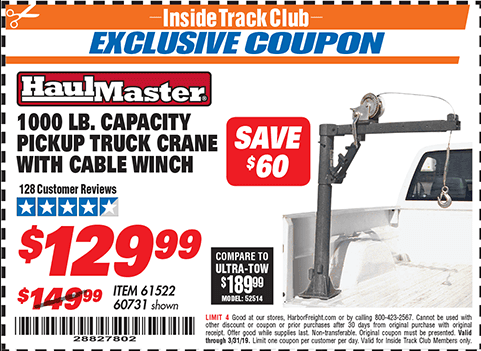 Harbor Freight 1/2 TON CAPACITY PICKUP CRANE WITH CABLE WINCH coupon