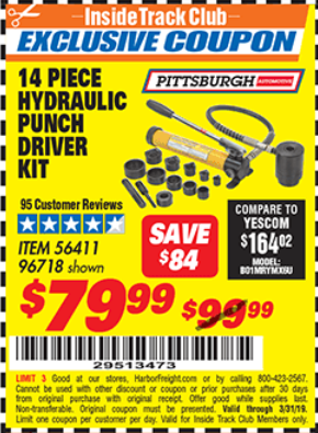 Harbor Freight 14 PIECE HYDRAULIC PUNCH DRIVER KIT coupon