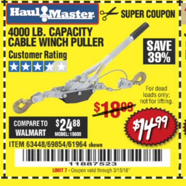 Harbor Freight 4000 LB. CAPACITY CABLE WINCH PULLER coupon
