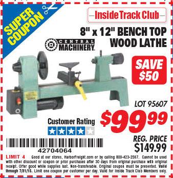 Harbor freight 8x12 lathe coupon