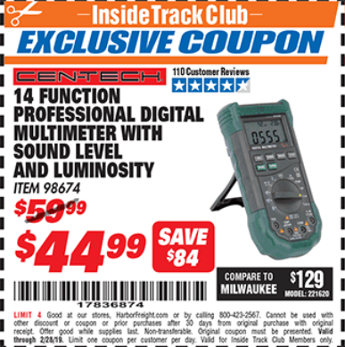 Harbor Freight 14 FUNCTION PROFESSIONAL DIGITAL MULTIMETER WITH SOUND LEVEL AND LUMINOSITY coupon