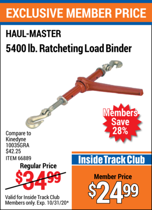 Harbor Freight 5400 LB. RATCHETING LOAD BINDER coupon