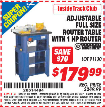 Harbor freight tools coupon database free coupons 25 percent off harbor freight itc coupon stationary router table with 1 hp router lot no 91130 expired itc stationary router table with 1 hp router lot no keyboard keysfo Images