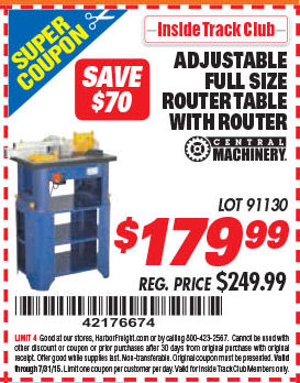 Harbor freight tools coupon database free coupons 25 percent off harbor freight itc coupon stationary router table with 1 hp router lot no 91130 expired itc stationary router table with 1 hp router lot no greentooth Choice Image