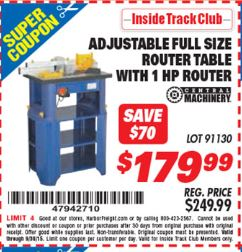 Harbor freight tools coupon database free coupons 25 percent off harbor freight itc coupon stationary router table with 1 hp router lot no 91130 expired itc stationary router table with 1 hp router lot no greentooth Gallery