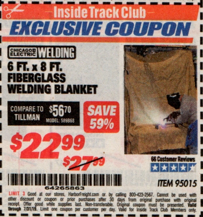 www.hfqpdb.com - 6 FT. x 8 FT. FIBERGLASS WELDING BLANKET Lot No. 95015
