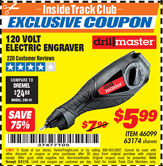 Harbor Freight 120 VOLT ELECTRIC ENGRAVER coupon