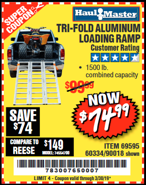 www.hfqpdb.com - SUPER-WIDE TRI-FOLD ALUMINUM LOADING RAMP Lot No. 90018/69595/60334