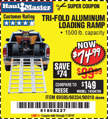 Harbor Freight SUPER-WIDE TRI-FOLD ALUMINUM LOADING RAMP coupon