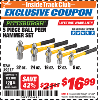 Harbor Freight 5 PIECE BALL PEIN HAMMER SET coupon