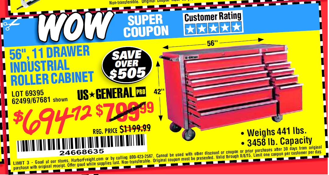 Glossy Red Roller Cabinet Combo. every department when you shop with Harbor  Freight coupons.
