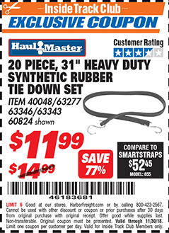 """www.hfqpdb.com - 31"""" HEAVY DUTY SYNTHETIC RUBBER TIE DOWN SET PACK OF 20 Lot No. 40048/60824/63343/63277"""