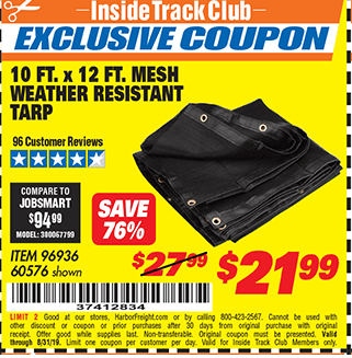 Harbor Freight 10 FT. x 12 FT. MESH ALL PURPOSE WEATHER RESISTANT TARP coupon