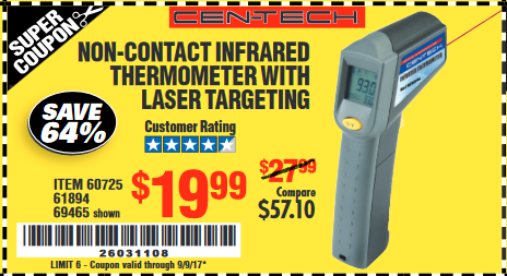 Harbor Freight NON-CONTACT INFRARED THERMOMETER WITH LASER TARGETING coupon