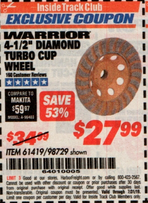 "www.hfqpdb.com - 4-1/2"" DIAMOND TURBO CUP WHEEL Lot No. 98729/61419"